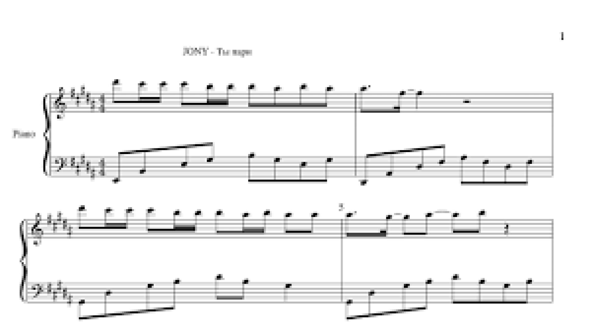 Ноты+ MIDI  JONY - Ты пари